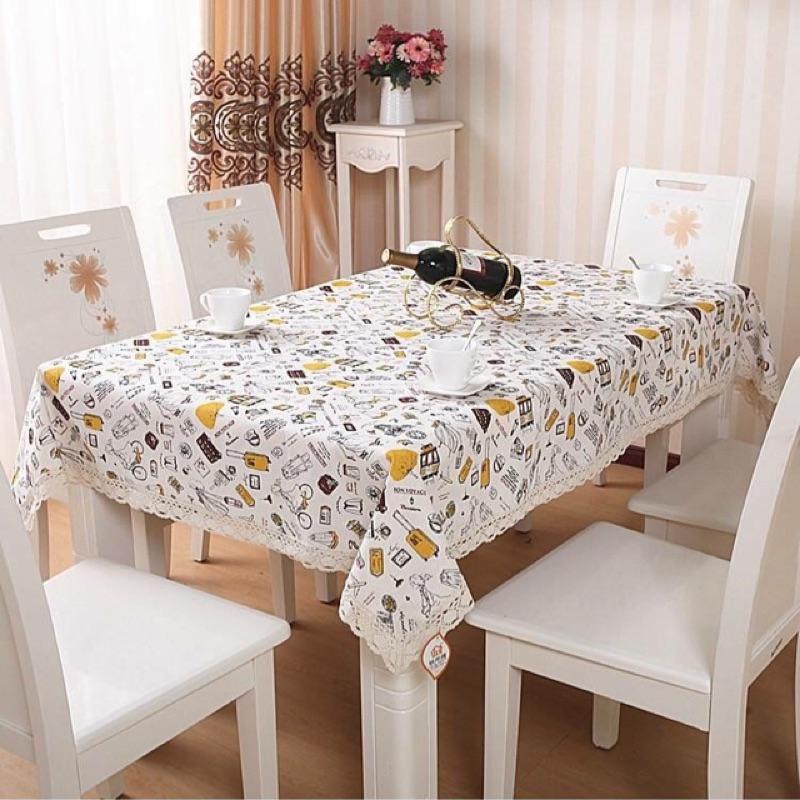 歐式棉麻蕾絲花邊餐桌巾