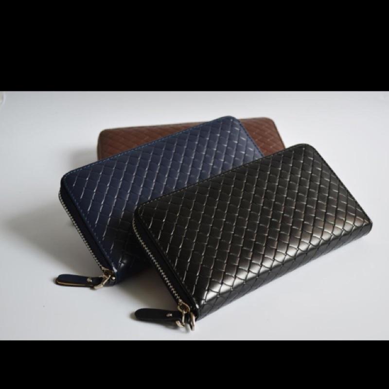 長款拉鏈編織紋男女錢包長夾手機包零錢包手拿包手機套名片夾證件夾C1