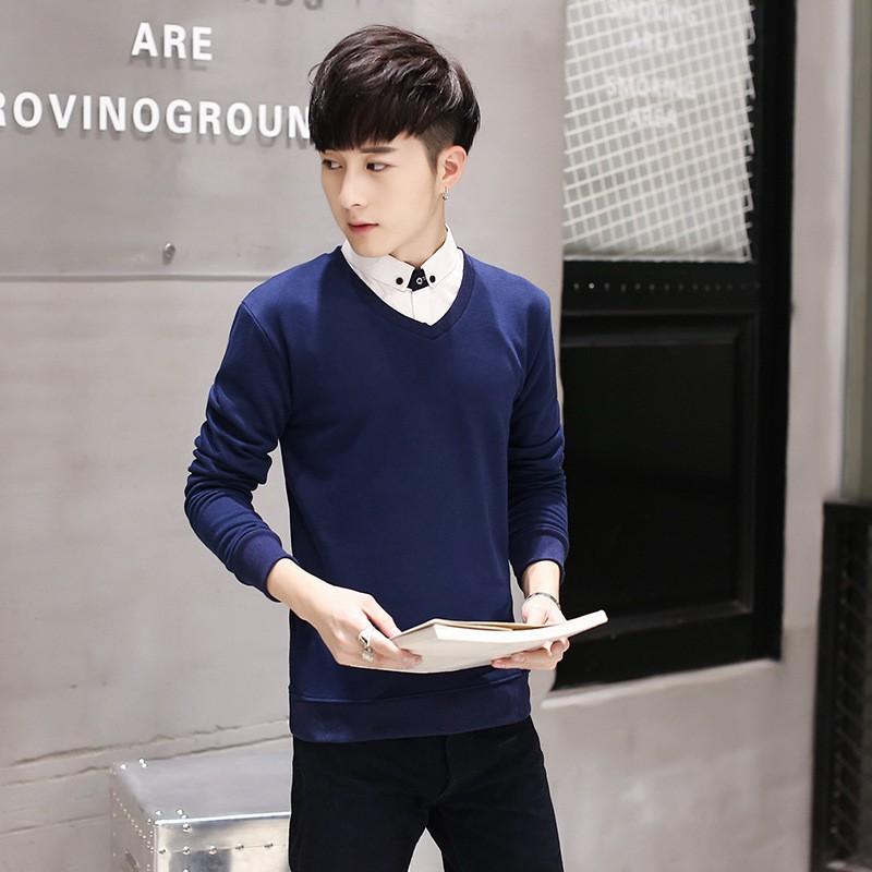 長袖V 領純色t 恤百搭男式衛衣修身簡潔男士外套潮牌男學生衛衣