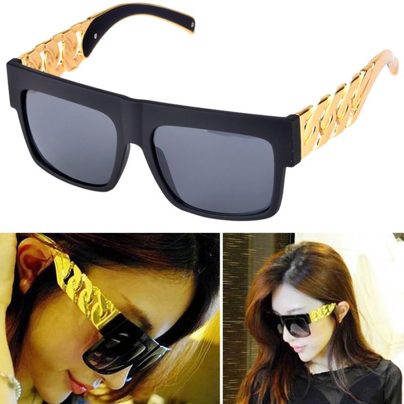 復古金屬邊框特大鏡片太陽眼鏡