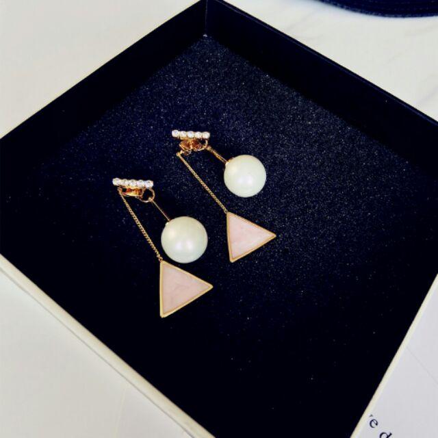 珍珠幾三角型後掛式耳環