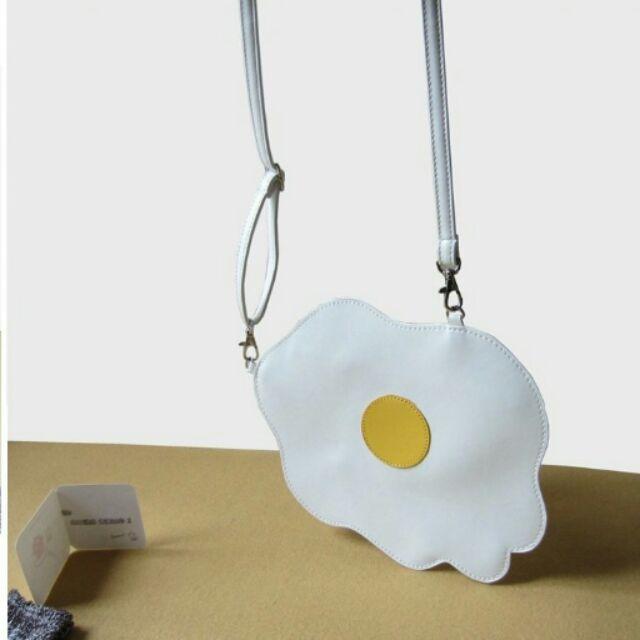 (背帶長度可調款原宿風荷包蛋 單肩斜背包煎蛋不規則單肩包雞蛋 小包包錢包
