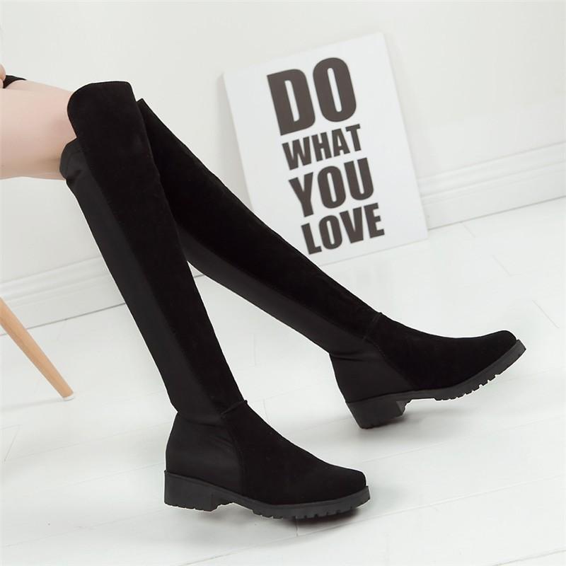 過膝長靴子彈力布中跟平底絨面長高筒女鞋瘦腿女靴踝靴短靴雪靴厚底高跟靴子秋天 馬汀鞋增高鞋