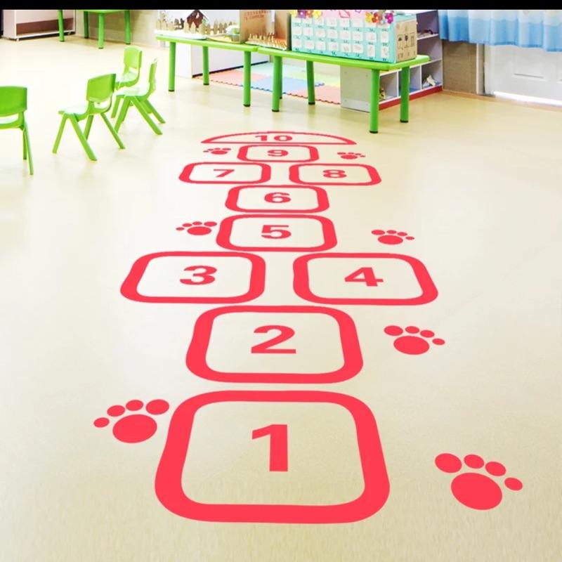 兒童體育遊戲數字跳格子壁貼地貼