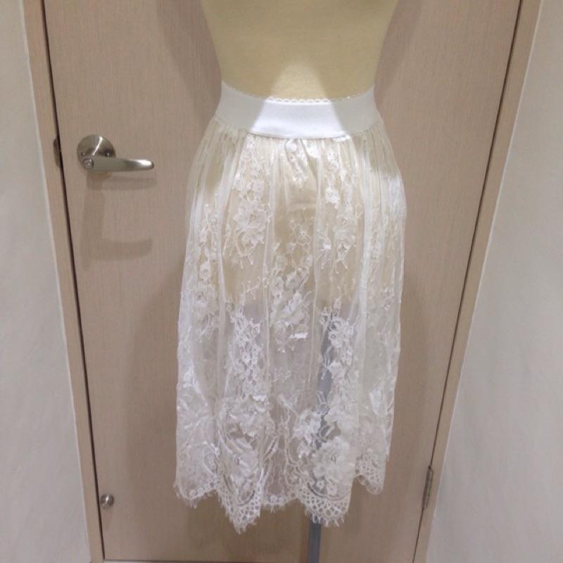 Apujiu ✨氣質蕾絲裙白色 雪紡長裙