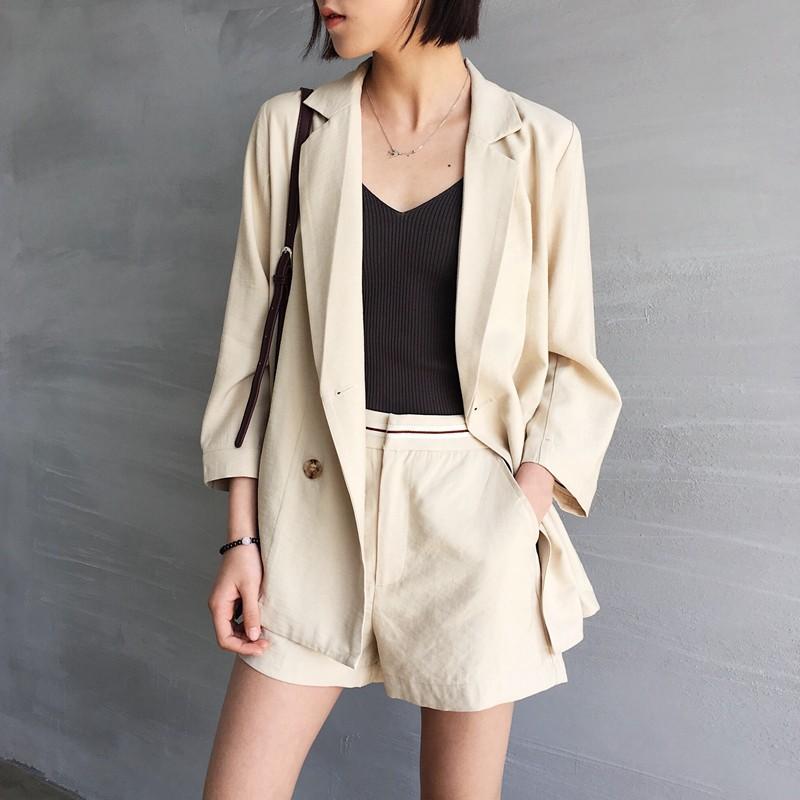 DNA rt ~YE131 ~隨意休閒風!兩件套薄款棉麻料西裝外套百搭闊腿西裝短褲