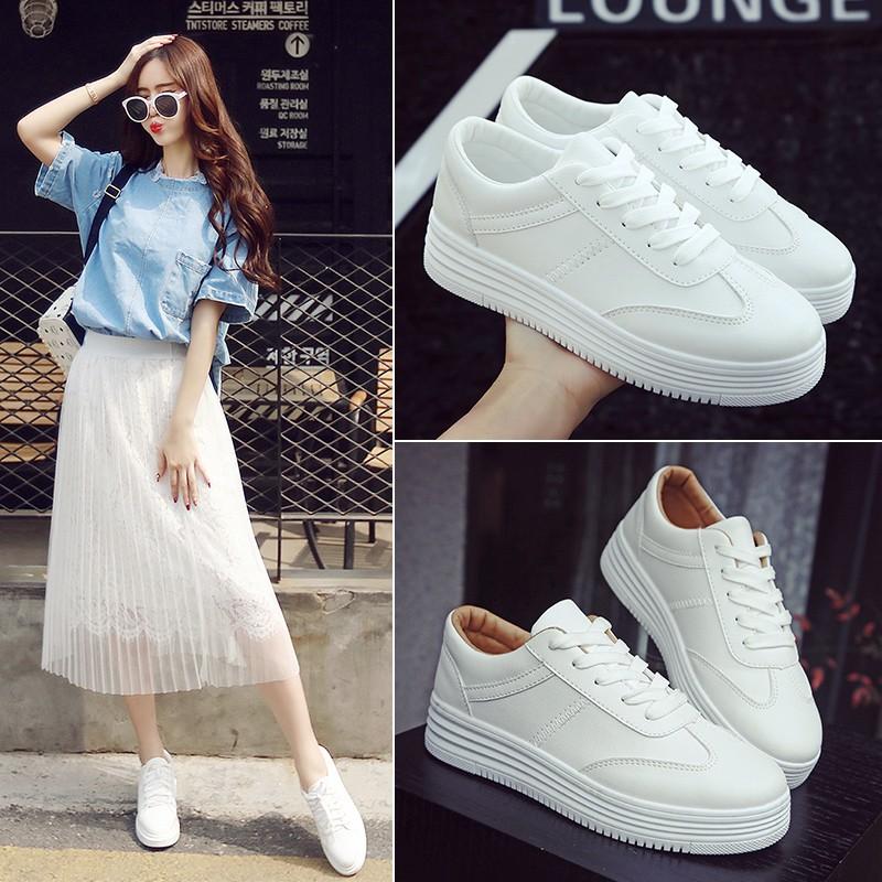 【 】百搭小白鞋 學生女鞋白色平底休閒板鞋