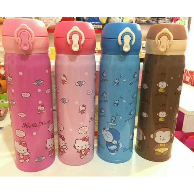 卡通彈扣式不鏽鋼保溫瓶繽紛系列n ㄧ支199 n n 款式:粉KT 、桃KT 、a 夢、小