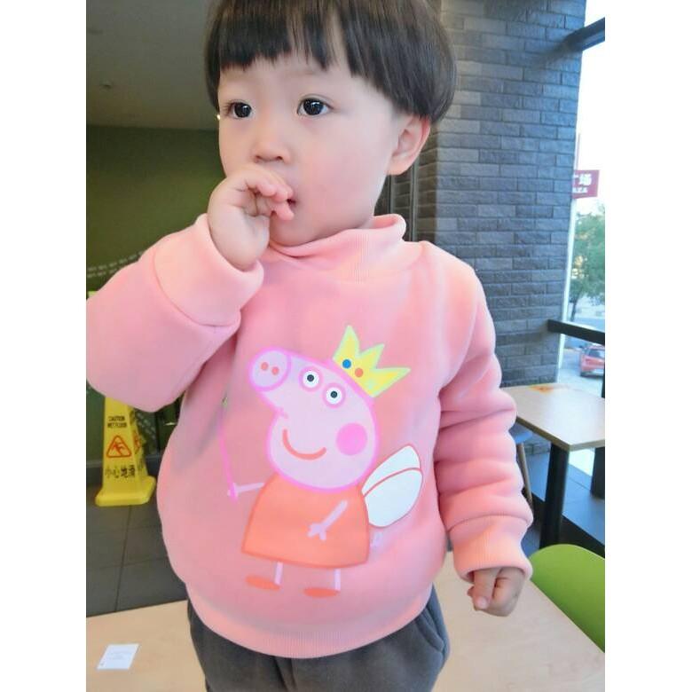 彩虹Shop ❤~ ~~粉紅豬小妹~  /男童女童加絨加厚寶寶圓領高領打底衫