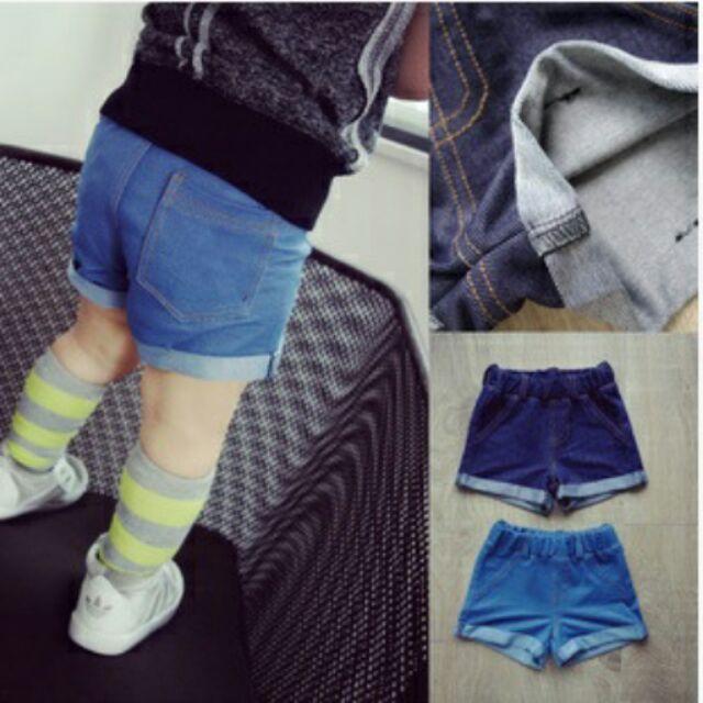 ~YeBaby 童衣鋪~~ ~ 男女兒童深色、淺色仿牛仔短褲中小童休閒百搭褲