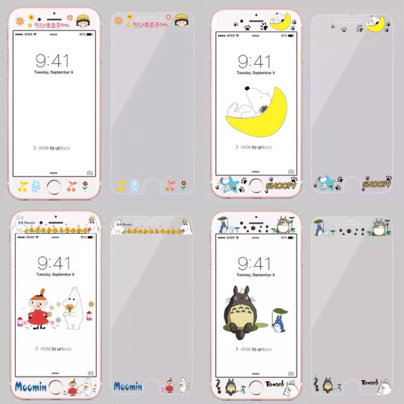 iphone4 7 吋鋼化玻璃膜嚕嚕咪龍貓史努比小丸子