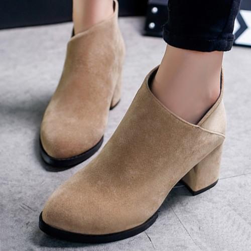 2017 英倫風復古擦色粗跟V 口短靴中跟馬丁靴潮尖頭女及裸靴子