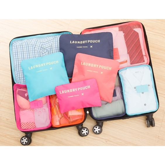 ~美好 ~ 旅行收納袋六件組包中包行李箱旅行袋整理包飛機包護照包盥洗包