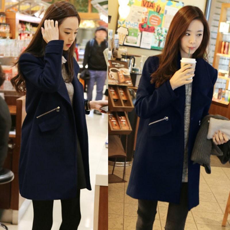 ❤ ❤2016 冬天薄呢外套女學生毛呢子妮子大衣韓國 中長款修身潮