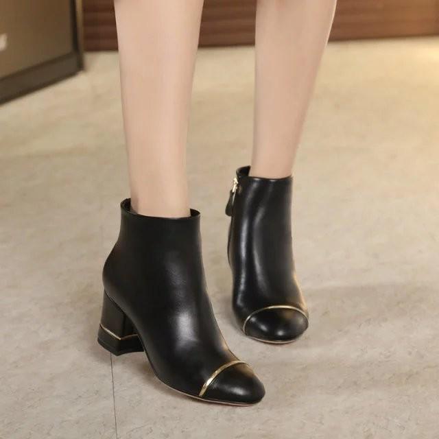 短靴CHANEL 真皮馬丁靴踝靴香奈兒粗跟高跟及祼靴圓頭羊皮單靴靴子女鞋35 39 碼
