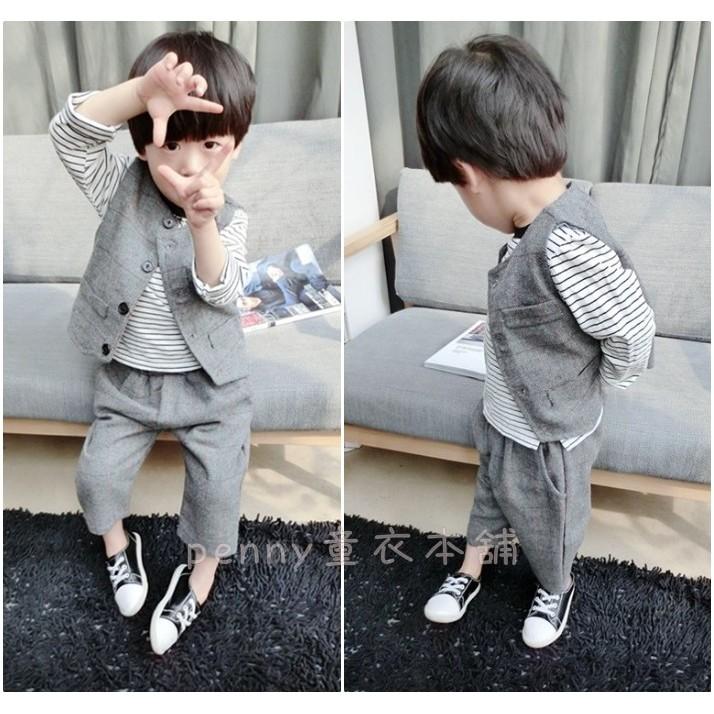 男童兒童寶寶紳士西裝背心九分褲哈倫褲兩件套裝花童套裝禮服套裝馬甲套裝