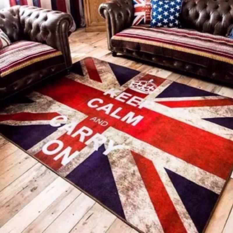 萌萌の 刷舊感米字國旗地毯品味 復古米字旗做舊英倫風臥室地毯門廳地墊客廳沙發茶几地毯