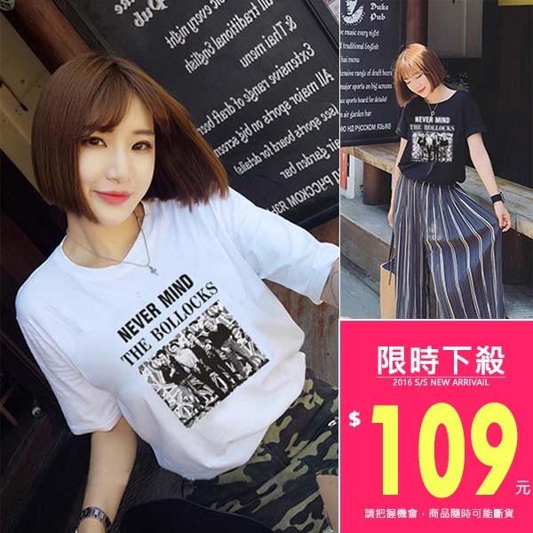 韓款人物印花短袖圓領百搭T ~TJA4116 ~TJSHOP