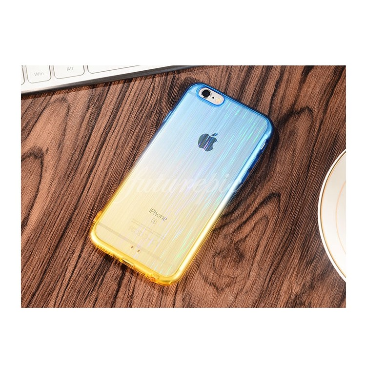 ~ ~漸層雙色塑膠軟殼藍黃紫黃黃紅手機殼保護套Iphone6 6s 4 7 吋