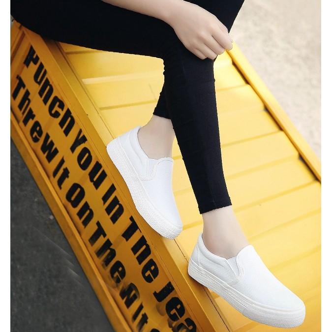 白色帆布鞋女 平底休閒布鞋一腳蹬懶人鞋厚底鬆糕鞋小白鞋