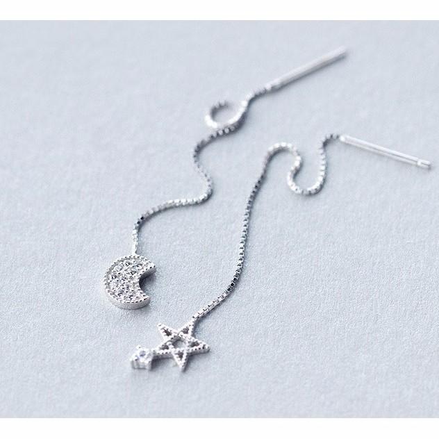 s925 純銀,這個夏天美美噠,小清新氣質oL ,925 純銀耳線女日韓森系甜美鑲鑽星星月