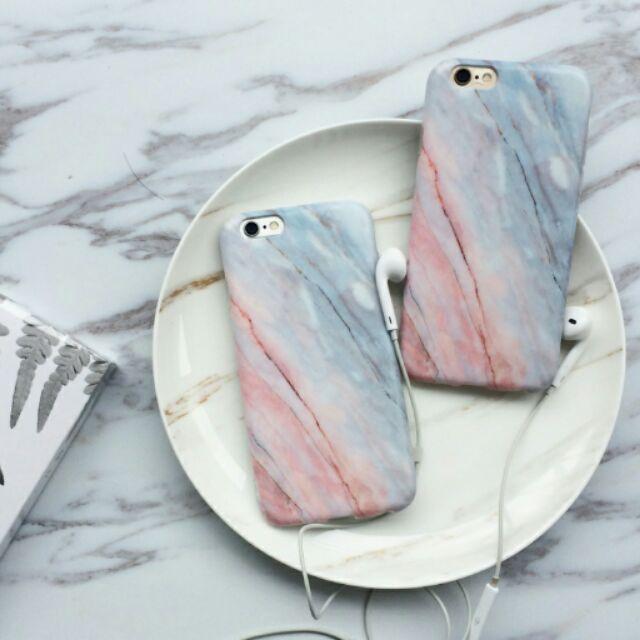 有 粉紅色櫻花大理石清新手機殼iphone7 i7plus i6 i6plus i6s i