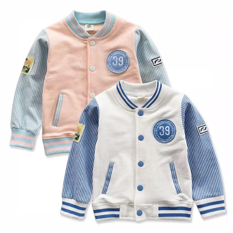 ⛱ 110cm ⛱男童女童純棉條紋配色V 領休閒棒球外套上衣夾克