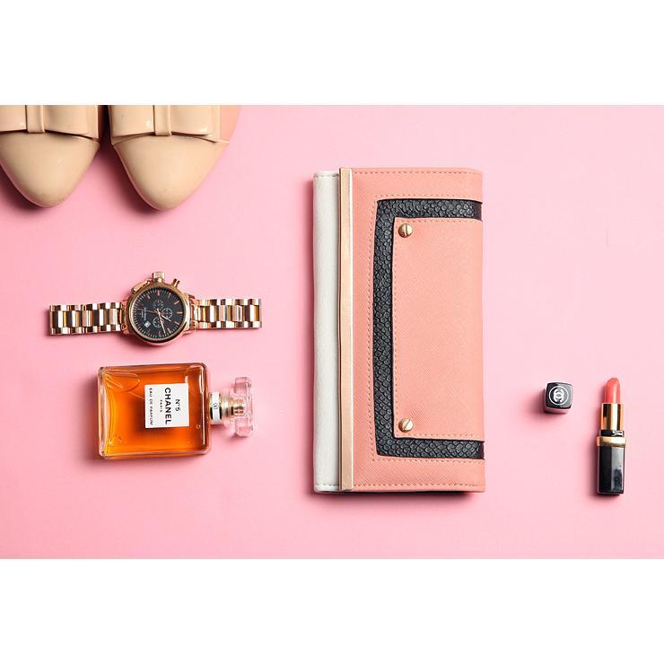 外貿原單出口英國 粉橘色拼色長夾錢包女包