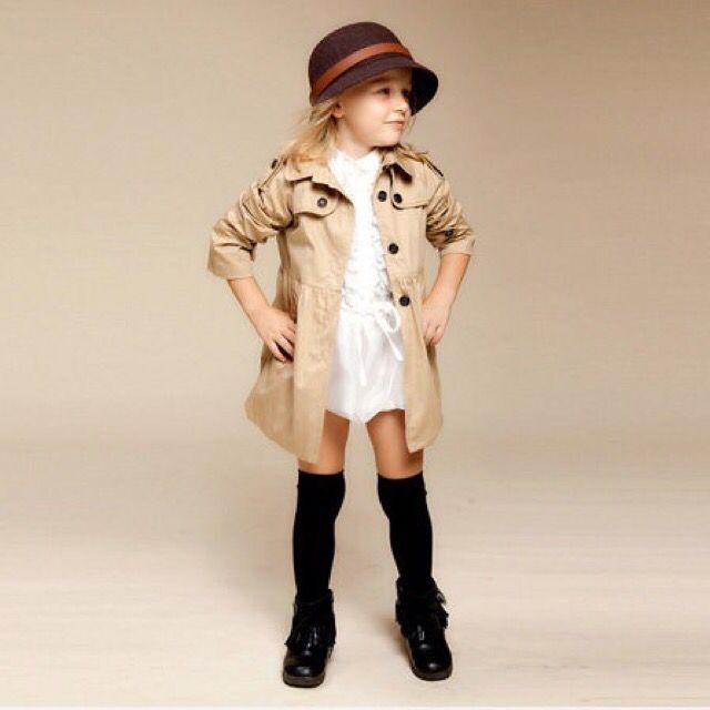 130 碼(薄外套卡其色)女童兒童風衣女孩中長外套秋裝