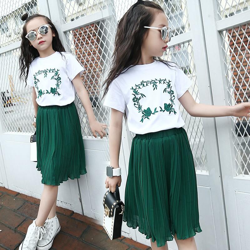 A076 中大童女童套裝 圓領短袖T 恤上衣女孩兒童百褶裙半身裙兩件套裝MAMA 咪呀 衣
