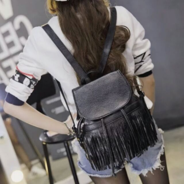 ~  破盤價~東大門韓系水洗皮革流蘇雙肩包後背包