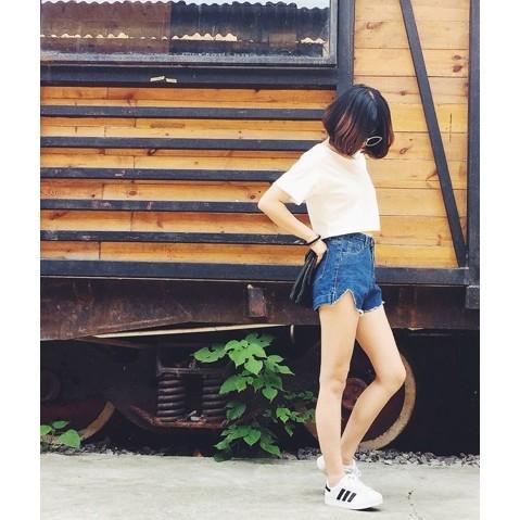 夏日開岔剪裁顯腿長瘦腿高腰牛仔褲鬚邊開岔熱褲