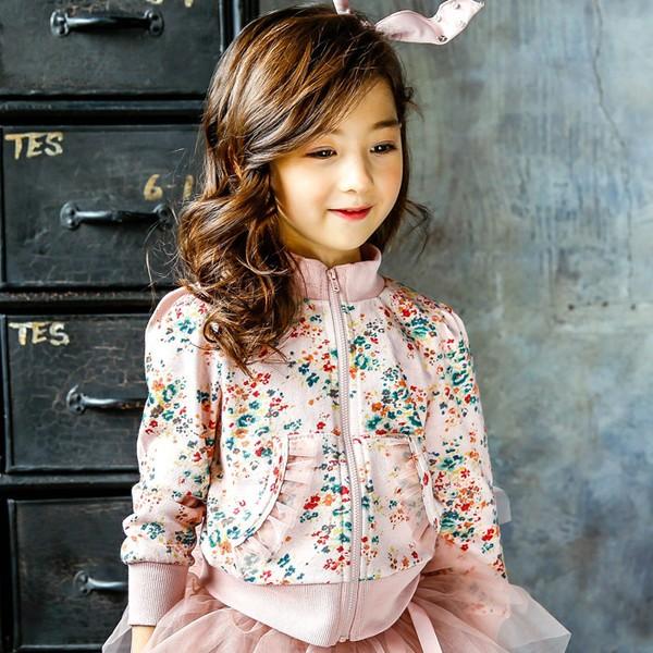 ~耐心等候~2017 年韓國甜美碎花 女童拉鏈蕾絲高領碎花外套 夾克