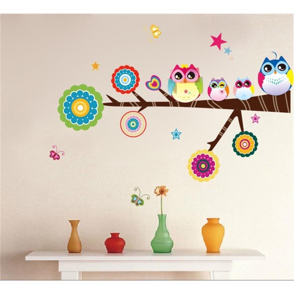 2016 年七彩可愛貓頭鷹家族支系蝴蝶PVC 牆貼貼花裝飾為孩子的房間