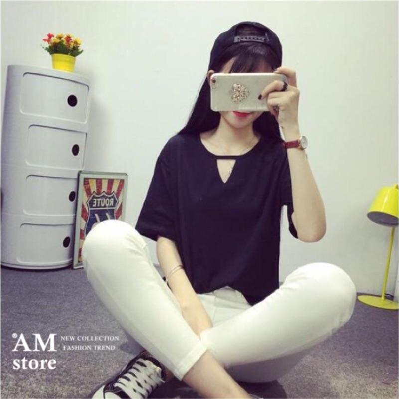 切割三角鏤空純色寬鬆涼感棉質短袖T 恤2 色AMstore