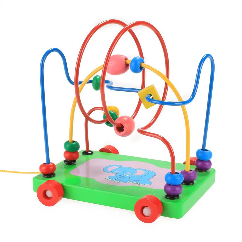 木質玩具卡通大象拖車嬰兒智力串繞珠多 學步寶寶兒童玩具0 3 歲