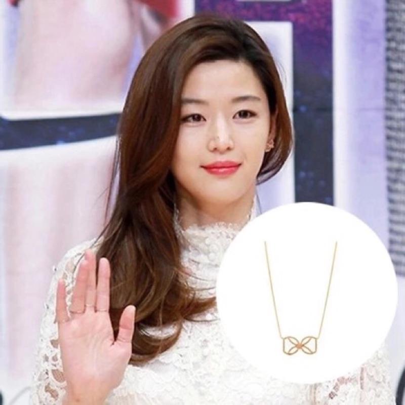 韓國 飾品來自星星的你千頌伊全智賢韓劇同款合金蝴蝶結項鍊