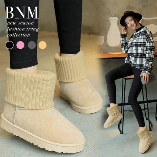 雪靴 百搭素面短筒保暖舒適雪靴短靴BNM