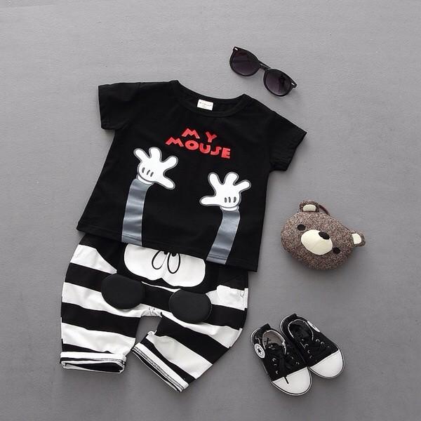 2016 男童女童寶寶卡通印花短袖T 恤可愛七分褲中褲兒童2 件套裝