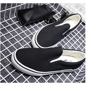 109 134 黑白帆布鞋小白鞋懶人鞋女休閒女單鞋全黑36