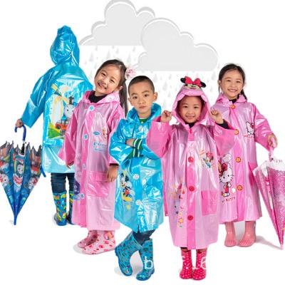 韓國卡通Hello Kitty 雨衣兒童學生雨衣帶書包位新式環保充氣帽簷雨披小孩加厚男童女