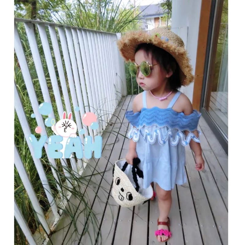 女童寶寶夏日棉麻透氣吊帶拼接花邊洋裝