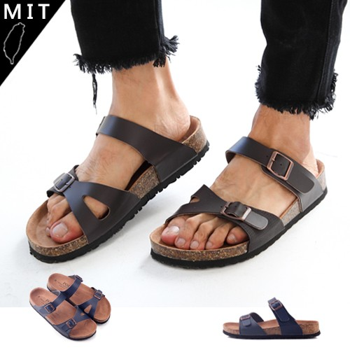 LJB 男款MIT 雙線條皮質簍空扣環自然足跡拖鞋藍色
