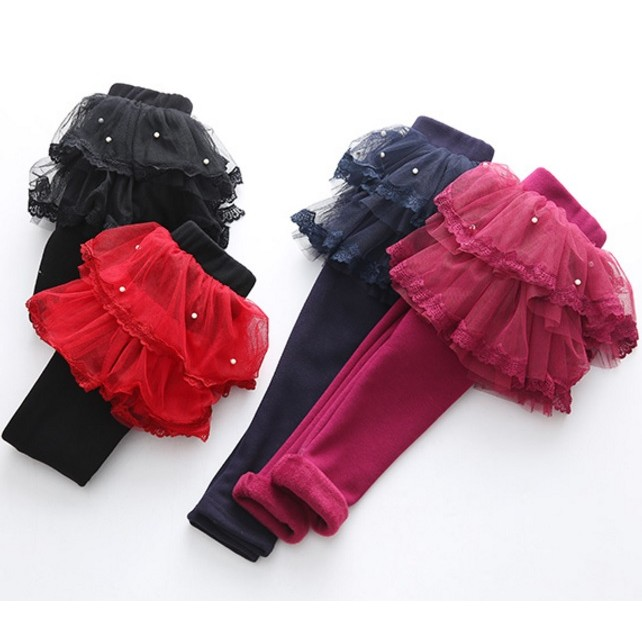 E1381 女童寶寶加絨加厚假兩件蓬蓬紗裙褲打底褲內搭褲MAMA 咪呀 衣鋪