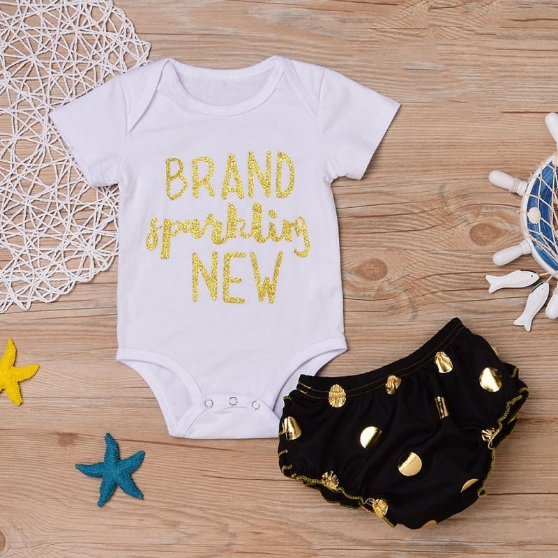 新信嬰兒女孩棉連衣裙PP 褲子2 件裝備新生兒女嬰服裝嬰兒短褲爬行褲工作服