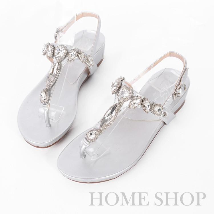 HOME SHOP 水鑽寶石坡跟涼鞋銀金