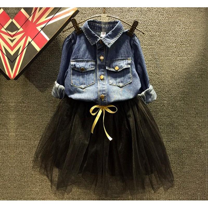 A8143 春秋裝女童牛仔套裝 寬松牛仔襯衫長袖上衣黑色半身裙套裝