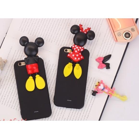 日韓迪士尼立體保護殼米奇米妮史迪奇防塵塞軟殼iPhone 6 6s Plus 全包軟殼保護