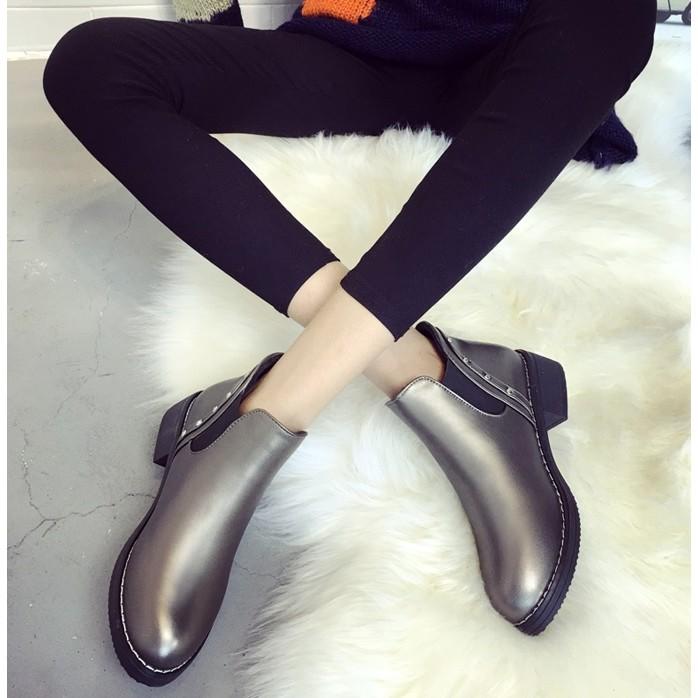 春秋粗跟馬丁靴潮女短靴圓頭踝靴中跟