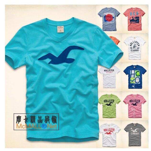 A F Hollister 學院風男生款印花海鷗貼布LOGO 圖案短袖T 恤棉T HCO